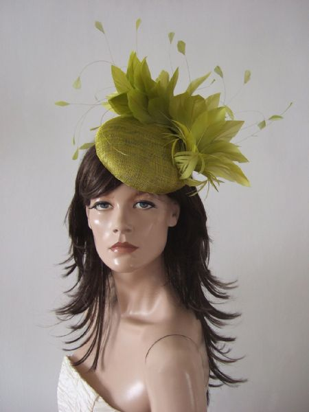 "Light Olive Green Feather Fascinator Smartie Hat ""Moya"" Royal Ascot / Kentucky Derby Headpiece"